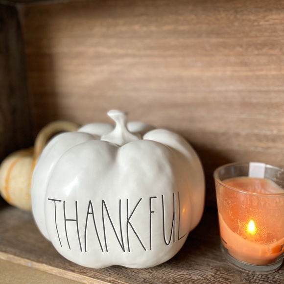 NEW - Rae Dunn - THANKFUL - Large pumpkin decor